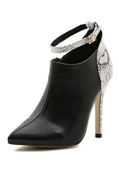 Black PU White Stiletto Ankle Straps Boots
