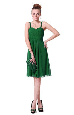 Spaghetti Straps Shirred Bust Sweetheart Green Cocktail Dress