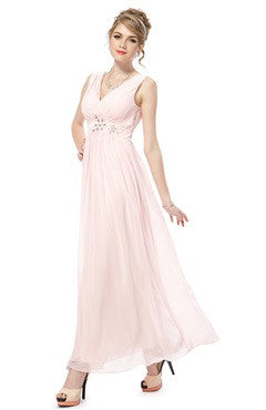 Double V-Neck Ruched Bust Rhinestones Embellished Waist Bridesmaid Dress