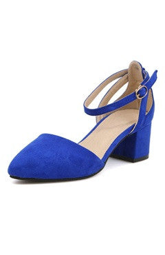 Faux Suede Ankle Strap Block Heel Shoes In Royal Blue