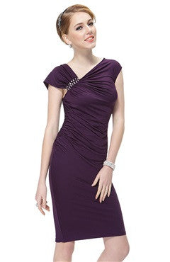 Taffeta Capped Sleeve Wraping Beaded Mauve Mini Dress
