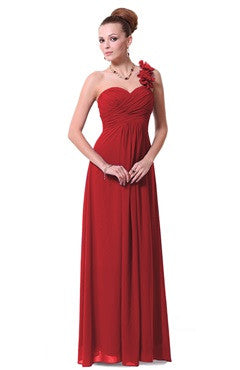 Wrapped Floral Strap Ruching Red Bridesmaid Dress