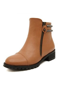 Brown PU Leather Studs Flat Boots