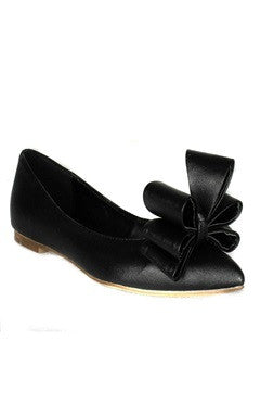 Point Toe Front Bow Detailed Leather Flats