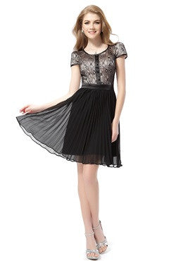 Buttons Detailed Lace Top Pleated Hem Short Dress