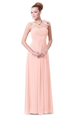 Pink Ruched Bust Floral Shoulder Chiffon Dress