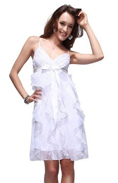 Bow Sashes Spaghetti Straps V-Neck White Dress With Frill Detail