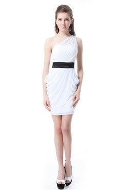 White One Shoulder Belted Ruched Short Cocktail Dress