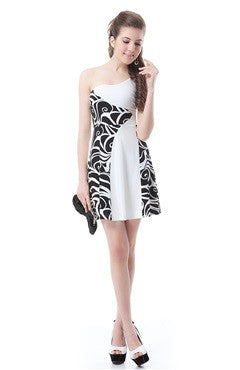 Black And White Printed One Shoulder Short Cocktail Dress