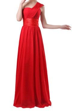 Silky Waistband One Shoulder Soft A-Line Dress In Red