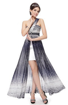 Printed One Shoulder Slit Party Dress With Satin Lining