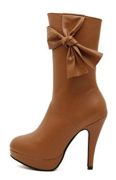 Brown Stiletto Bows Detailed Short Boots