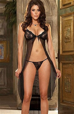Gowns & Robes Sets Lace Black Sexy Lingeries