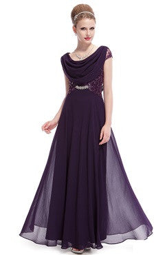 Cowl Front Open V Back Lace Top Formal Dress, Dark Purple