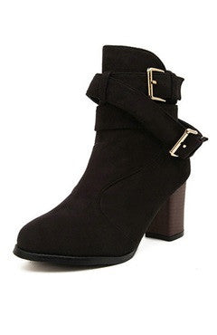 Black Buckle Strap Chunky Heels PU Boots