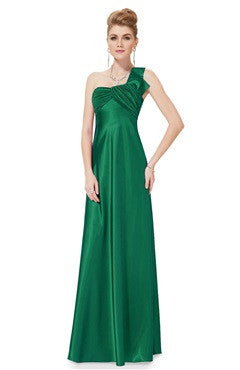 Green Ruched Bust Halter Back One Shoulder Elastic Satin Dress