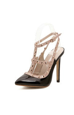 Studded Strappy Faux High Heel Slingback Shoes