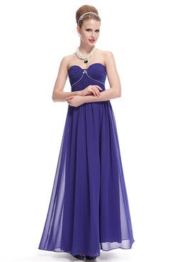 Strapless Ruched Bust Rhinestones Embellished Long Chiffon Evening Dress