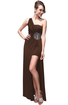 Brown One Shoulder Ruched Bust Beading Dress With Overskirt