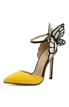 Two Part Point Toe Contrast Butterfly High Heels