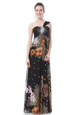 One -Shoulder Floral Printed Ruched Beading Bust Maxi Dress