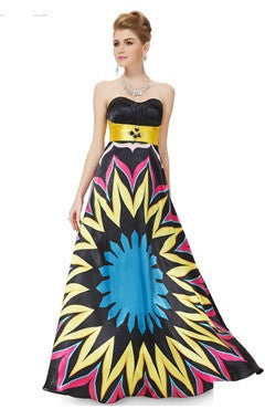 Bright Contrast Color Oversize Printed Prom Dress
