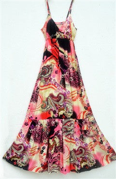 Abstract Print Spaghetti Straps Maxi Dress