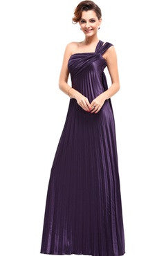 Flowing Asymmetrical Straps Pleated Evening Gown, Ash Purple