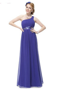 One Shoulder Pleated Top Sequin Waist Evening Dress, Blue
