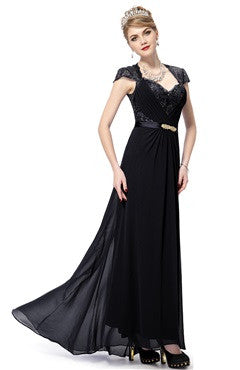 Capped Cutback With Sequins Applique Chiffon Black Dress