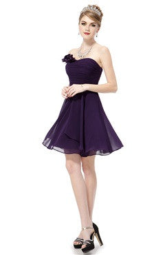Strapless Flower Ruched Bust Short Purple Bridesmaids Dress