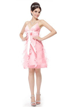 Bow Sashes Spaghetti Straps V-Neck Pink Dress With Frill Detail