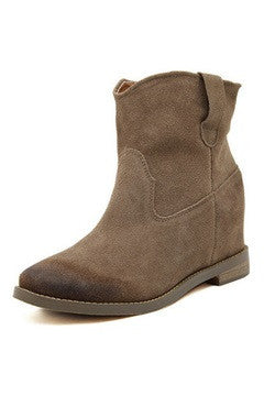 Brown Leather Flat Short Boots