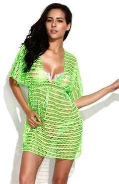 Neon Green Crochet Tunic Beach Dress with Drawstring at Waistline