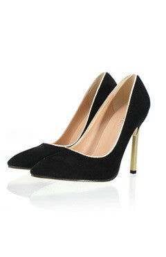 Faux Suede Contrast Stiletto Heel Point Toe Pumps In Black