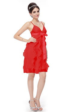 Bow Sashes Spaghetti Straps V-Neck Red Dress With Frill Detail