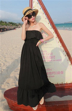 Strapless Solid Color Flounce Maxis Dress