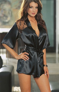 Lace Shoulder Satin Material Loose Chemise