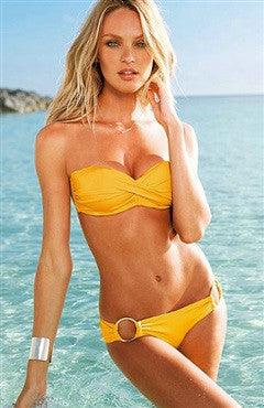 Cute Yellow Low Waist Strapless Bikini Set