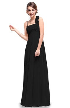 Black Rosettes Shoulder Strap Ruched Bust Evening Dress
