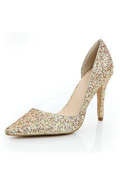 Multi Color Glitter Heeled Pump With Side Cutaway Details