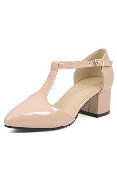 Faux Patent T Strap Block Heel Shoes