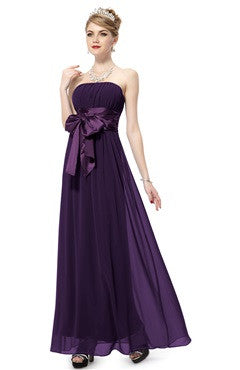 Pleated Top Bow Embellished Purple Bridesmaid Dress