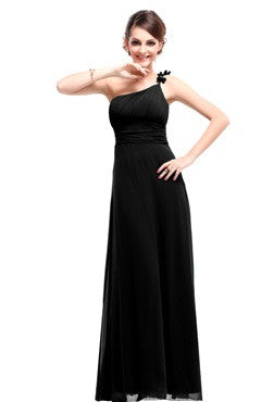 Black One Shoulder Ruched Bust Dress With Bow Detail