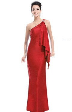 Red One Shoulder Elastic Silk-Like Prom Dress With Beading Detail