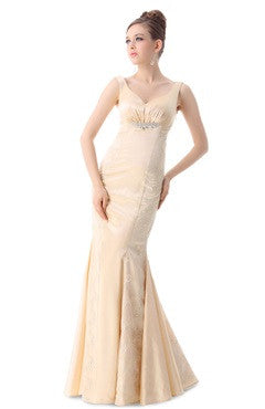 Champagne Applique Trumpet Dress With Beading Detail