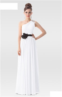Elegant White One Shoulder Black Rosettes Detailed Evening Dress