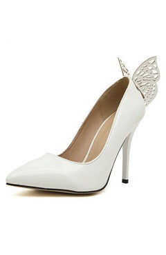 White Point Toe Butterfly High Heels