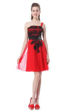 Red One Shoulder Satin Dress With Lace Pattern