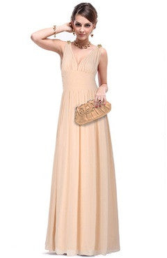 Champagne Plunge V Neck Low Cut Back Evening Dress